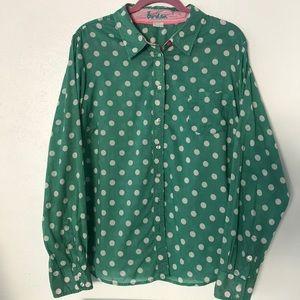 Boden Polka Dot Flip Cuff Button Down Shirt